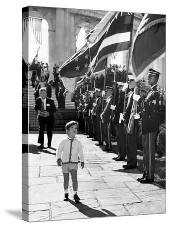 Young John Kennedy Jr, the President's Son, 'Inspects' the Honor Guard--Stretched Canvas Print