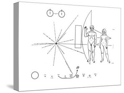 Pictorial Plaque of the Pioneer F Spacecraft Destined for Interstellar Space--Stretched Canvas Print