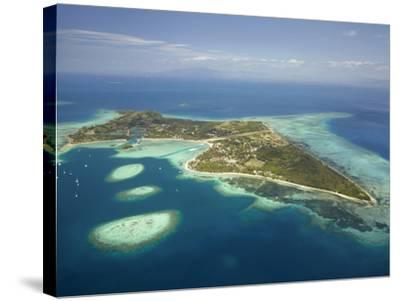 Coral Reef and Malolo Lailai Island, Mamanuca Islands, Fiji-David Wall-Stretched Canvas Print