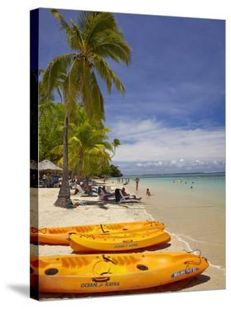 Kayaks and Beach, Shangri-La Fijian Resort, Yanuca Island, Coral Coast, Viti Levu, Fiji-David Wall-Stretched Canvas Print