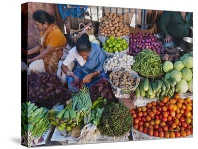 Selling Fruit in Local Market, Goa, India-Keren Su-Stretched Canvas Print