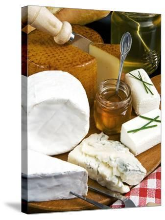 French Cheeses and Honey, France-Nico Tondini-Stretched Canvas Print
