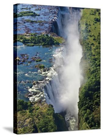 Aerial View of Victoria Falls, Waterfall, and the Zambesi River, Zimbabwe-Miva Stock-Stretched Canvas Print