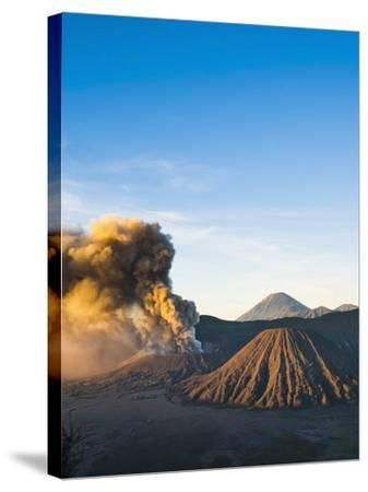 Mount Bromo Volcano Erupting at Sunrise, Sending Volcanic Ash High into Sky, East Java, Indonesia-Matthew Williams-Ellis-Stretched Canvas Print