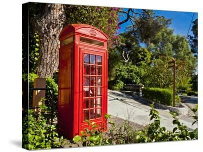 Red Telephone Box, Alameda Gardens, Gibraltar, Europe-Giles Bracher-Stretched Canvas Print
