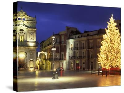 Duomo Square at Christmas, Ortygia, Siracusa, Sicily, Italy, Europe-Vincenzo Lombardo-Stretched Canvas Print