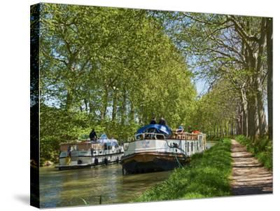 Navigation on Canal du Midi, UNESCO World Heritage Site, Languedoc Roussillon, France-Tuul-Stretched Canvas Print