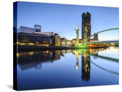 Millennium Bridge and Lowry Centre at Dawn, Salford Quays, Manchester, Greater Manchester, England-Chris Hepburn-Stretched Canvas Print