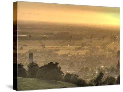 View of Glastonbury During Sunset from Glastonbury Tor, Somerset, England, United Kingdom, Europe-Sara Erith-Stretched Canvas Print