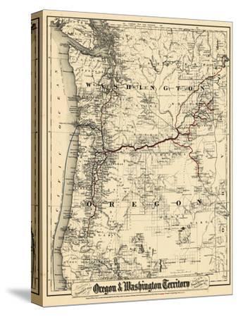 1880, Oregon and Washington State Map, Oregon, United States--Stretched Canvas Print