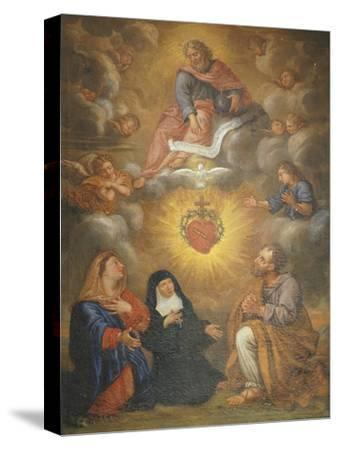 Adoration of the Sacred Heart of Jesus by the Angels, Mary and Joseph and Margaret Mary Alacocque-French School-Stretched Canvas Print