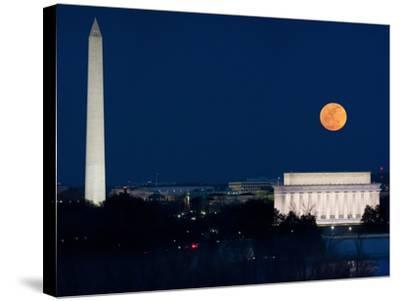 Panorama of the March 19, 2011 Super Moon at Perigee Full Moon-Greg Dale-Stretched Canvas Print