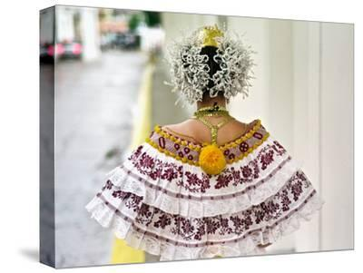 A Young Panamanian Woman Wearing the Traditional Pollera-Kike Calvo-Stretched Canvas Print