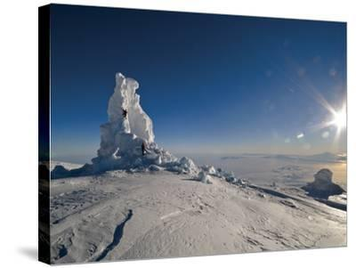 Biologists Explore a Partially Collapsed Ice Tower on Mount Erebus-Peter Carsten-Stretched Canvas Print