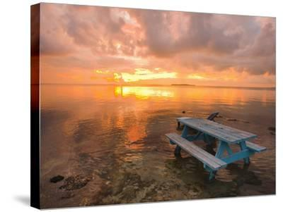 Cumulus Cloud Set Up and Threaten to Produce a Waterspout at Sunset-Mike Theiss-Stretched Canvas Print