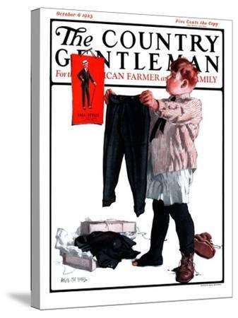 """First Pair of Long Pants,"" Country Gentleman Cover, October 6, 1923-Angus MacDonall-Stretched Canvas Print"