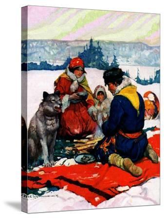 """""""Eskimo Family Meal,""""March 1, 1928-Frank Schoonover-Stretched Canvas Print"""