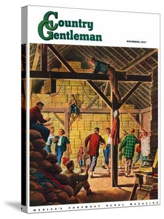 """""""Square Dance in the Barn,"""" Country Gentleman Cover, November 1, 1947-W^W^ Calvert-Stretched Canvas Print"""