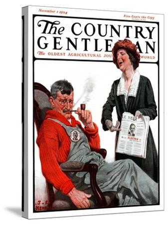 """Her Man Won!,"" Country Gentleman Cover, November 1, 1924-J^F^ Kernan-Stretched Canvas Print"