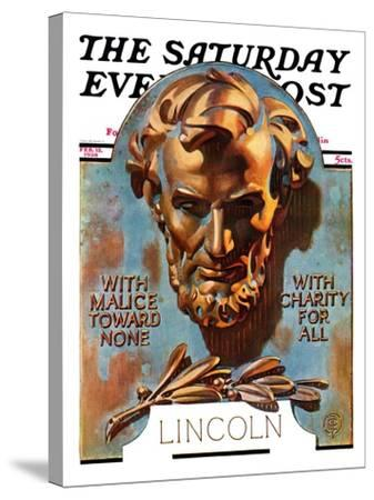 """Bronze Lincoln,"" Saturday Evening Post Cover, February 12, 1938-Joseph Christian Leyendecker-Stretched Canvas Print"