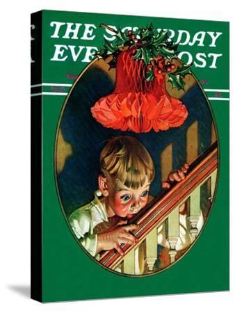 """Christmas Peek,"" Saturday Evening Post Cover, December 23, 1939-Joseph Christian Leyendecker-Stretched Canvas Print"