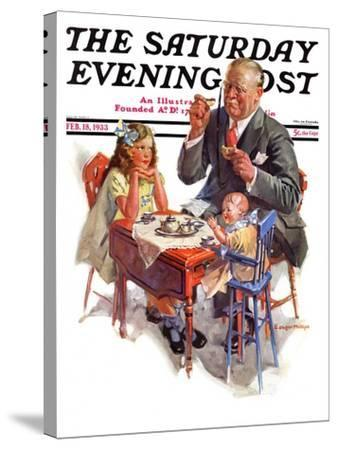"""""""Tea for Grandpa,"""" Saturday Evening Post Cover, February 18, 1933-C^ Gager Phillips-Stretched Canvas Print"""