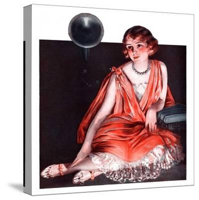 """""""Woman and Phonograph,""""March 21, 1925-Pearl L^ Hill-Stretched Canvas Print"""