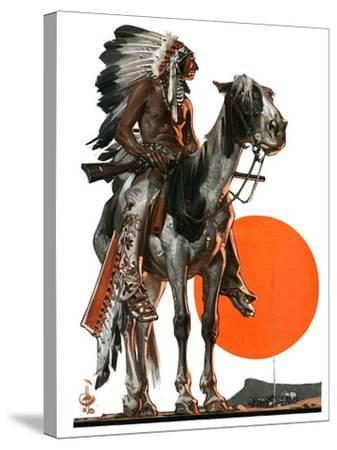 """""""Indian Sunset,""""March 17, 1923-Joseph Christian Leyendecker-Stretched Canvas Print"""