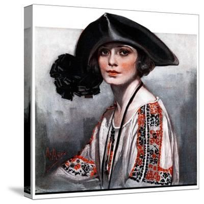 """Woman in Embroidered Blouse,""May 5, 1923-Neysa Mcmein-Stretched Canvas Print"