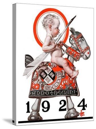 """Sir Baby New Year,""December 29, 1923-Joseph Christian Leyendecker-Stretched Canvas Print"