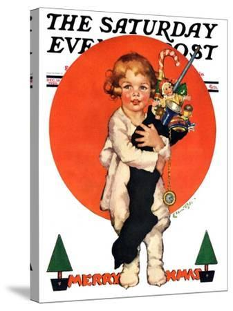 """""""Giant Christmas Stocking,"""" Saturday Evening Post Cover, December 18, 1926-Ellen Pyle-Stretched Canvas Print"""