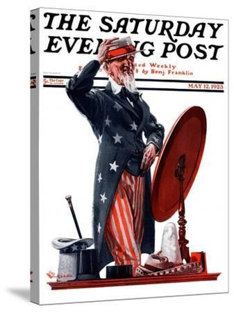 """""""New Hat for Uncle Sam,"""" Saturday Evening Post Cover, May 12, 1923-Elbert Mcgran Jackson-Stretched Canvas Print"""