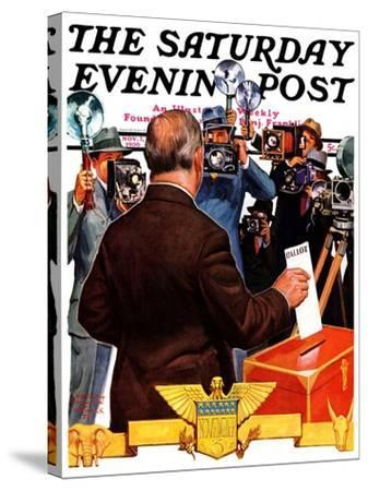 """""""Candidate Voting,"""" Saturday Evening Post Cover, November 7, 1936-Edgar Franklin Wittmack-Stretched Canvas Print"""
