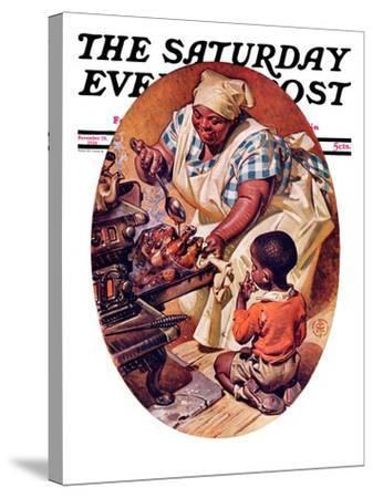 """Basting the Turkey,"" Saturday Evening Post Cover, November 28, 1936-Joseph Christian Leyendecker-Stretched Canvas Print"
