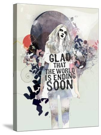 Glad That the World-Mydeadpony-Stretched Canvas Print