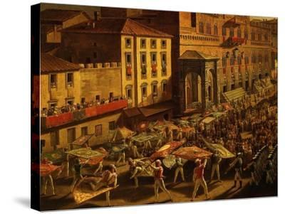 Standard Bearers, from Procession of Contrade for the Palio of 18 and 19 August 1818-Francesco Nenci-Stretched Canvas Print