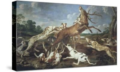 Stag Attacked by Pack of Hounds-Paul De Vos-Stretched Canvas Print