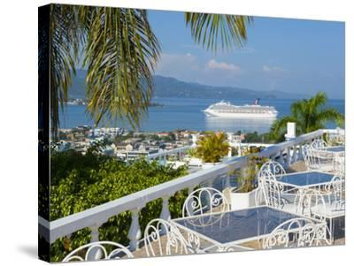 Elevated View over City Center and Cruize Liner, Montego Bay, St. James Parish, Jamaica, Caribbean-Doug Pearson-Stretched Canvas Print