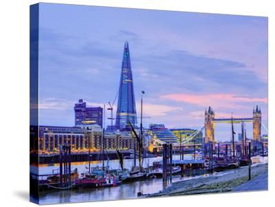 UK, England, London, River Thames, the Shard and Tower Bridge-Alan Copson-Stretched Canvas Print