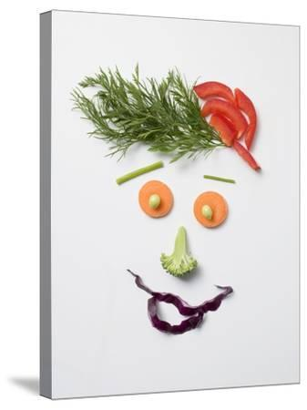 Amusing Face Made from Vegetables and Dill--Stretched Canvas Print