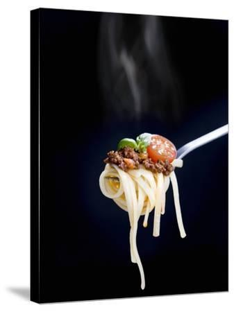Linguine with a Minced Meat Sauce, Tomatoes and Basil on a Fork-Mark Vogel-Stretched Canvas Print