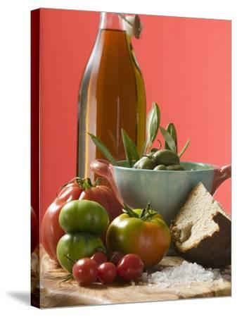 Fresh Tomatoes, Olives, Bread, Salt and Olive Oil--Stretched Canvas Print