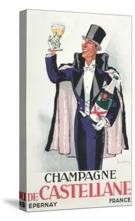 Bon Vivant with Champagne and Monocle--Stretched Canvas Print