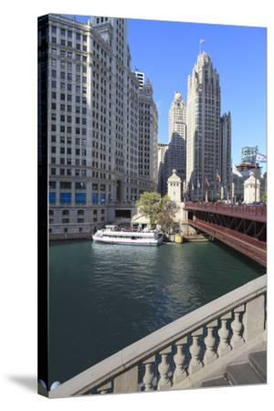 Chicago River and Dusable Bridge with Wrigley Building and Tribune Tower, Chicago, Illinois, USA-Amanda Hall-Stretched Canvas Print