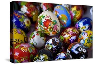 The Art of Painted Ukrainian Easter Eggs at a Flower Festival-Stephen St^ John-Stretched Canvas Print