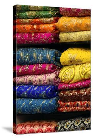 Colorful Sari Shop in Old Delhi Market, Delhi, India-Kymri Wilt-Stretched Canvas Print