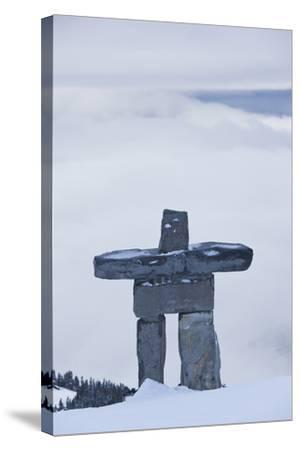 Gondola, Whistler to Blackcomb, Inuksuk First Nation Marker, British Columbia, Canada-Walter Bibikow-Stretched Canvas Print