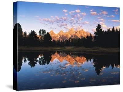 Teton Range Reflecting in Beaver Pond, Grand Teton National Park, Wyoming, USA-Adam Jones-Stretched Canvas Print