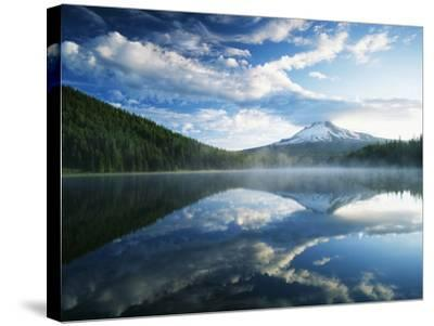 Trillium Lake, Mt Hood National Forest, Mt Hood Wilderness Area, Oregon, USA-Adam Jones-Stretched Canvas Print