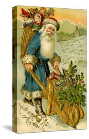 Father Christmas Dressed in Blue Carrying a Basket of Toys, Beatrice Litzinger Collection--Stretched Canvas Print